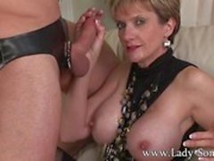 Mistress Lady Sonia cuckold rough sex and facial
