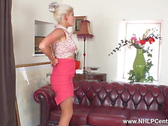 Busty blonde strips masturbates in sheer nylons stilettos