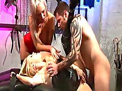 Two hot blonde babes fucking the lucky slave