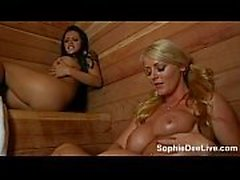 Hot lesbian sauna sex with big tit sluts Sophie Dee and Yuri Beltran