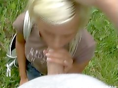 Blonde babe ambushed for some outdoor facefucking