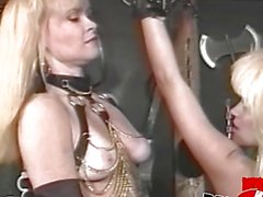Submissive babe tormented by deviant dominatrix