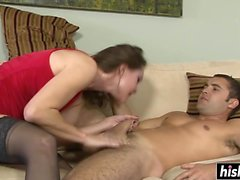 Sexy brunette really loves it rough