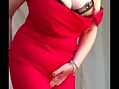 Sexy granny big tits, shaved pussy stripping off red dress 2