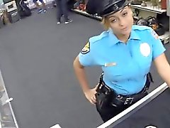 Police officer with big tits gets pounded by horny pawn guy