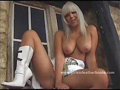 Busty blonde cowgirl talking dirty and getting very wet