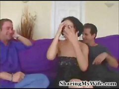 Dude shares his wife Mindy with another dude as he watches