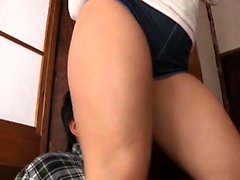 Asian slut with natural boobs gives massage to hard pecker
