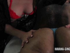 Angel Smalls giving Havana Ginger a naughty massage