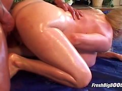 Dude Takes Oiled Blonde on the Mat