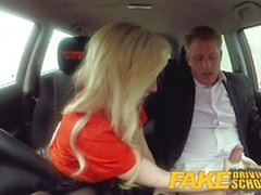Fake Driving School Mature guy spunking over blonde
