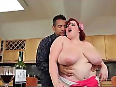 Chubby Redhead Groped In Kitchen