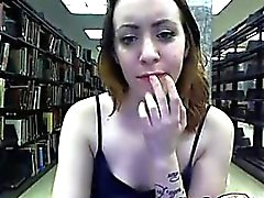 Hot milf with nice body flases and teases at public library