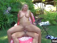 girl with big tits fucks outdoors movie
