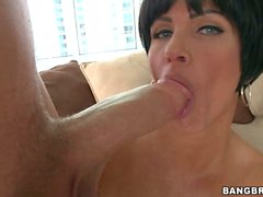 Hot brunette Shay Fox slides a whole beef pole in her voracious mouth