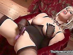 Horny blonde milf with big tits toying
