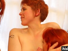 Redhead girls lick each other cunts