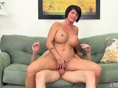 Voluptuous mommy Shay Fox finishes her guy off with her luscious lips