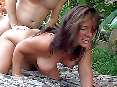 Busty brunette mom riding hard cock