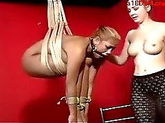 Busty Girl Hanging In Bondage Buttplug Mouthgag Whipped Fucked With Dildo Stimulated With Vibrator Spanked By Mistress