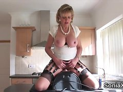 Cheating english mature lady sonia displays her massive tits