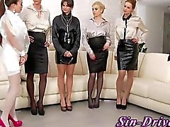 Cfnm glam sluts eat a cock of a gentleman