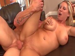 Naughty MILF blonde gets doggystyled and creampied