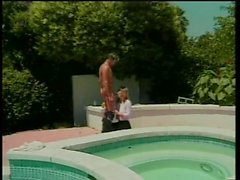 Sexy chick gets fucked in glasses then gets her face jizzed on by the pool