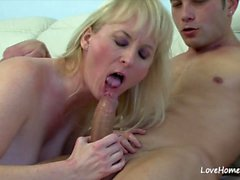 Blonde sucking cock and getting rammed hard