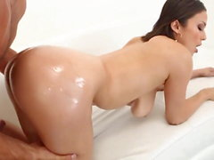 Naturally Busty Lady Oiled Anal Fuck