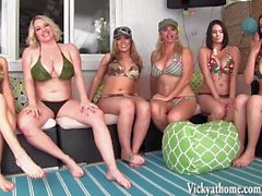 Vicky Vette's Six Girl Orgy! Interrupted By Gardeners!