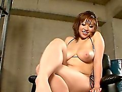 Large hooters japanese babe enjoys wicked trio sex