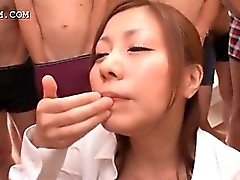 Gangbanged busty asian hoe licks and spits hot cum