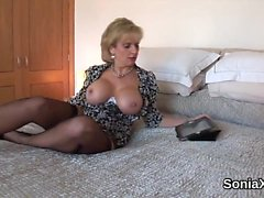 Unfaithful english milf lady sonia exposes her monster boobs