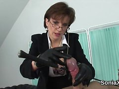 Cheating british mature lady sonia flashes her monster tits