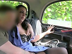 Busty nurse sucks big dick in a cab