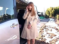 Flashing cosplay redhead gives public blowjob