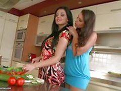 Aletta Ocean and Zafira mashing of tits in the kitchen