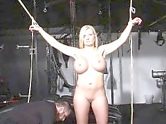 tied German slave Melanie gets electro training