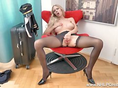 Gorgeous big tits blonde airline pilot Florane Russell masturbates in nylon pantyhose