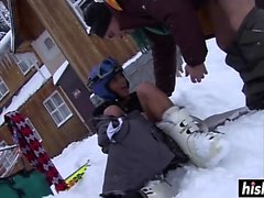 Jasmine Black gets fucked in the snow