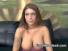 Brunette Amateur With Huge Tits Gets Her Face Destroyed